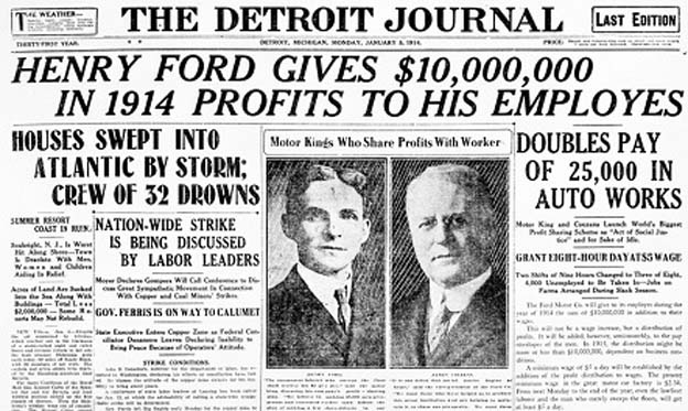 Henry Ford doubles the wages of all employees