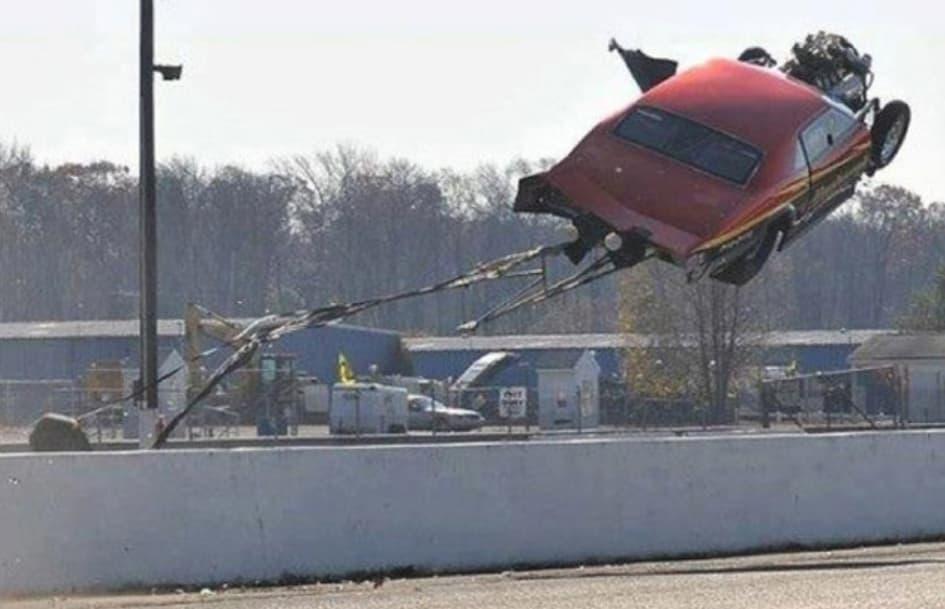 Drag Race Car Gets Airborne