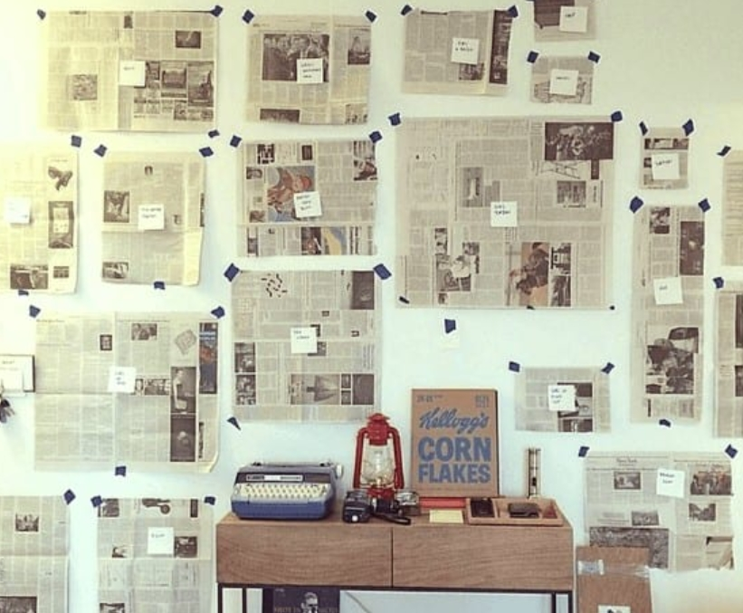Plan Out A Wall With Newspapers
